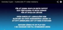Se SvFF- filmen om HuFF i Svenska Cupen - folkfest i Glada Hudik, isblock, spelare, publik