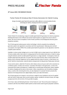 Fischer Panda UK Introduces New VS Series Generators for Hybrid Cruising