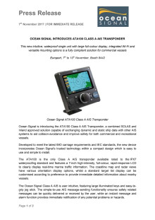 Ocean Signal Introduces ATA100 Class A AIS Transponder at Europort