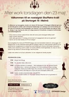 Pressinbjudan till after work med eko/retro-tema den 23 maj i Malmö