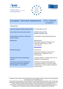 Europeisk Teknisk Bedömning (ETA 14/0415) Fire protection of load bearing steel structures