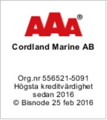 Cordland Marine AB har fått högsta ratingen AAA