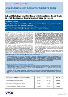 Visa Europe's Irish Consumer Spending Index - 11 April 2016