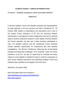 Statement French Swedish Sub-polar and Climate Change Research