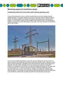 Monitoring system for transformer stands