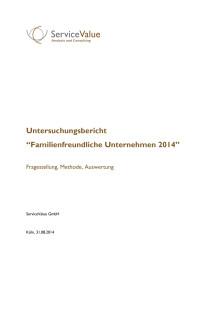 Familienfreundliche Unternehmen 2014 - Untersuchungsbericht