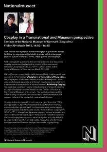 Infomateriale om Cosplay-seminar på Nationalmuseet den 20. marts 2015