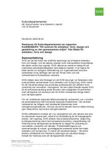 SVIDs remissvar till Rådet för arkitektur, form och design