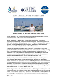Karpaz Gate Marina Appoints New Harbour Master
