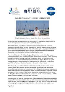 Karpaz Gate Marina Appoints New Harbour Master