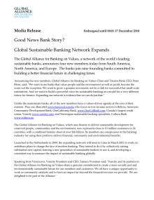 Global Sustainable Banking Network Expands