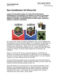 Pressmeddelande Minecraftnyheter 171107