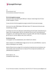 Skrivelse till kommunstyrelsen
