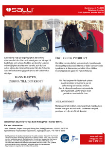 Salli Riding Pad exhibited at EuroHorse (in Swedish)