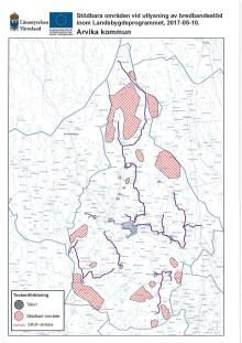 Stödbara områden vid utlysning av bredbandsstöd inom Landsbygdsprogrammet (kartor)