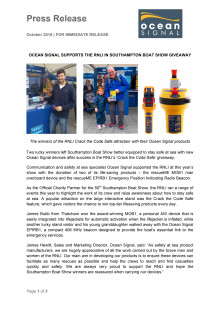 Ocean Signal Supports the RNLI in Southampton Boat Show Giveaway
