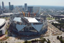 Roof raised on Mercedes-Benz stadium