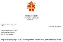 Ärkebiskopen: Sverige bör ta en mer framträdande roll i eliminering av kärnvapen