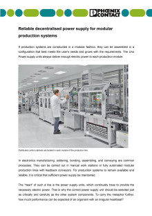 Reliable decentralised power supply for modular production systems