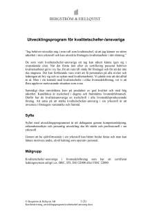 Utvecklingsprogram för kvalitetschefer - Bergström & Hellqvist AB