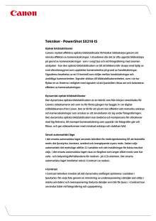 Teknikförklaringar PowerShot SX210 IS