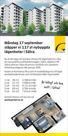 Annons 117 nya lägenheter Sätra