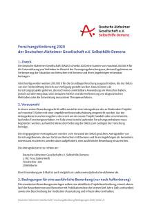 Förderbedingungen zur Forschungsförderung der DAlzG 2020