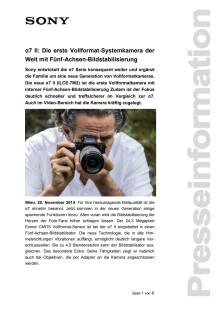 """Pressemitteilung """"α7 II: Die erste Vollformat-Systemkamera der Welt mit Fünf-Achsen-Bildstabilisierung"""""""