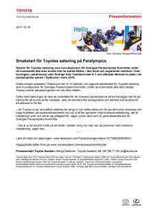 Smakstart för Toyotas satsning på Paralympics