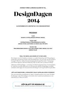 DesignDagen 26 nov – inbjudan och program