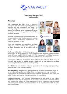 Sammanfattning - Budget 2015 för Göteborg Stad
