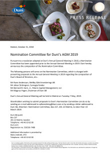 Nomination Committee for Duni's AGM 2019