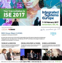 NSG Group vil udstille på Integrated Systems Europe 2017 showet i Amsterdam