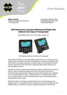 ACR Electronics Launches Waterproof Single-Unit AISLink CA2 Class A Transponder