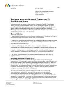 Remissvar avseende förslag till Godsstrategi för Stockholmsregionen