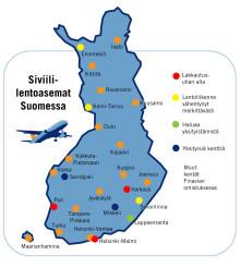 Suomen matkustuskäytössä olevat lentokentät