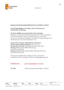 Program för Kronprinsessans vandring, med ungefärliga tider