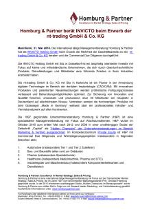 Homburg & Partner berät INVICTO beim Erwerb der nt-trading GmbH & Co. KG