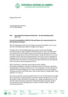 Remissyttrande över ny djurskyddslag (SOU 2011:75)