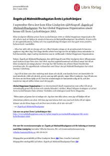 Pressmeddelande: Ängeln på Malmskillnadsgatan Årets Lyckofrämjare