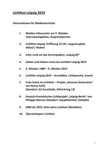 Informationen für Medienvertreter zum Lichtfest Leipzig