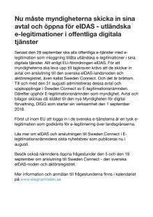 Nu måste myndigheterna skicka in sina avtal och öppna för eIDAS - utländska e-legitimationer i offentliga digitala tjänster