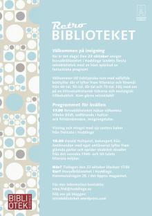Inbjudan till invigning av retrobiblioteket 23 oktober