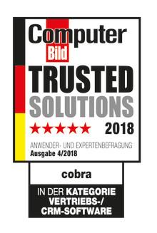 """cobra CRM von COMPUTER BILD als """"Trusted Solution"""" ausgezeichnet"""