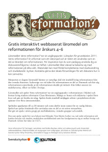"""Lärarhandledning till spelet """"Vems reformation?"""""""