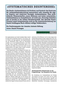 """""""Systematisches Desinteresse"""": Positionspapier zur Studie """"Antisemitismus als Problem und Symbol"""" des Zentrums für Antisemitismusfroschung"""