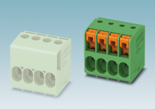 PCB terminal blocks of the same size with differing connection technology