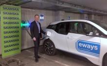 Eways har installerat 30 laddplatser i Skanskas huvudkontor
