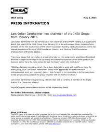 Press info in English - Lars-Johan Jarnheimer new chairman of the IKEA Group from January 2015