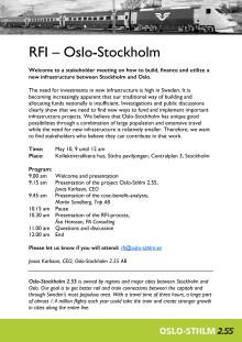 Stakeholder meeting on RFI Oslo-Stockholm